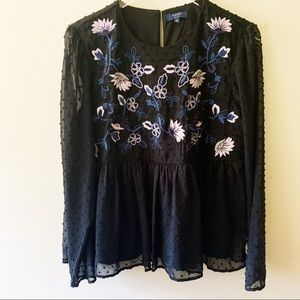 Kaari Blue Embroidered Long sleeve Top